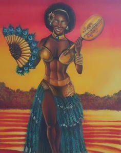 Ochun by Juan Acosta💖 African Mythology, African Goddess, Black Love, Afro, Disney Characters, Fictional Characters, Art Gallery, Spirituality, Wonder Woman