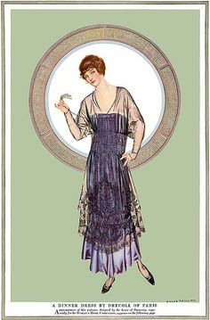 "Woman's Home Companion, ""A Dinner Dress..."" by Coles Phillips (1915)"