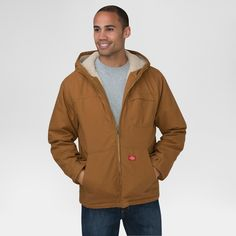 Dickies Men's Duck Sherpa Lined Hooded Jacket Big & Tall Brown Duck Xxxl Tall