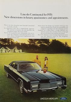 1970 Lincoln Continental Vintage Ad - Husband Wife Front Lawn Estate House Yard