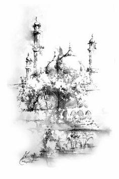 Badshahi Mosque Painting by Muddassir Kazmi