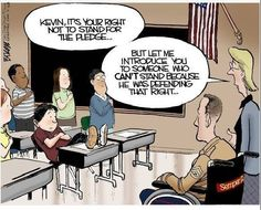 """""""It's your right not to stand for the pledge...but let me introduce you to someone who can't stand because he was defending that right."""""""