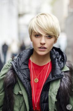 New Short Blonde Hairstyles. Blonde hair color is a very delicate and decent hair color. The women and girls with blonde hair have to be very careful Short Blonde Haircuts, Short Hair Cuts, Short Hair Styles, Short Pixie, Pixie Hairstyles, Pretty Hairstyles, Blonde Hairstyles, Cut My Hair, Her Hair