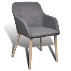 2x Stühle Stuhl Stuhlgruppe Esszimmerstühle Esszimmerstuhl Armlehne Grau  Eiche#S