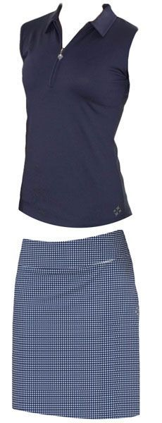 4all by JoFit Ladies Golf Outfits (Shirt & Skort) - Alexandria (Gingham Navy & White)