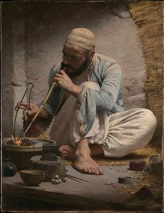 Charles Sprague Pearce (American 1851-1914). The Arab Jeweler, ca.1882. The Metropolitan Museum of Art, New York. Gift of Edward D. Adams, 1922 (22.69). #painting #jewelry