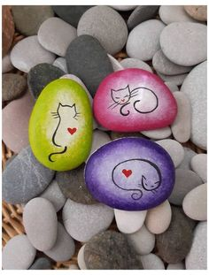 Cat painted stone, Hand painted on stone, Pink cat, Green cat, Purple cat, Rock art, Paperweigts, Cat lover gifts, Beach stone home decor #cat #painted #rocks #catpaintedrocks Cat painted stone, Hand painted on stone, Pink cat, Green cat, Purple cat, Rock art, Paperweigts, Cat lover gifts, Beach stone home decor I thought that this miniature rocks, which I gathered from the coast, would suit a cats. I painted the stone with acrylic paints and varnished. This cat painted stone can be used at… Pebble Painting, Dot Painting, Pebble Art, Stone Painting, Painted Rock Animals, Painted Rocks Craft, Hand Painted Rocks, Painted Pebbles, Craft Paint