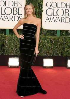 Stacy Keibler looked glamorous in an Armani Prive gown at the 2013 Golden Globes.