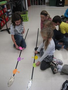 Use tape one the floor to make two lines, put shapes on them to show sol and mi, you can write any song out this way!