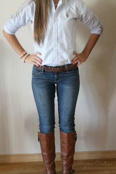 White Button-Up Shirt, Blue Denim Jeans, Brown Leather Belt, Brown Leather Rider Boots, Cream Bracelets | Fall Outfit