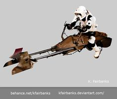 Digital drawing of a Biker Scout by K. Fairbanks. Media: Illustrator. View additional art by K. Fairbanks at http://graphics.ms11.net/index.html  #Art #DigitalArt #Vector #BikerScout  #StarWars