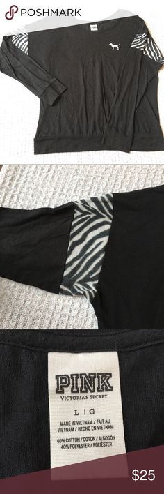 "VS PINK Black Zebra Long Sleeve Tee Very good condition. Smoke-free home. Measures 24"" armpit to armpit, 25"" shoulder to hem. Appears oversized. PINK Victoria's Secret Tops Tees - Long Sleeve"