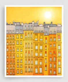 Yellow facade - Paris illustration Art Print