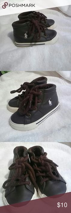 Polo brown boys shoes Gently loved brown Polo leather size 5t  hightop shoes.  No tears or stains, minor surface dirt, inside and outside in good condition. Polo by Ralph Lauren Shoes Sneakers