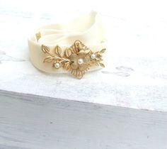 OOAK White Ribbon Gold Floral Bridal  Belt Ivory by YaelSteinberg, $39.90