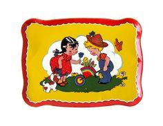 Vintage BOY & GIRL Tin Toy Tray by sushipotvintage on Etsy, $14.00