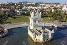 Aerial View Of Belem Tower - Torre De Belem In Lisbon, Portugal ...