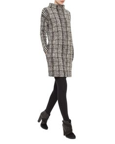 Mock-Neck Houndstooth Sweatshirt Dress, Black/Cream by Akris punto at Bergdorf Goodman.