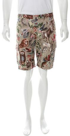 Men& taupe and multicolor printed Valentino cargo shorts with six pockets and hidden button closures at front. Clothing Tags, Buttonholes, Blazer Suit, Taupe, Collars, Valentino, Suits, Stylish, Sleeves