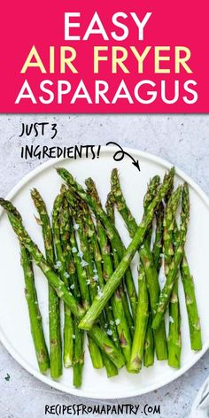 Make delicious Air Fryer Asparagus with just 3 simple ingredients and in a fraction of the time as traditional methods. So quick and easy and versatile! Air Fryer Recipes Vegetarian, Air Fryer Dinner Recipes, Roasted Vegetable Recipes, Air Fryer Recipes Easy, Healthy Eating Recipes, Fried Asparagus, How To Cook Asparagus, Easy Potluck Recipes, Summer Recipes