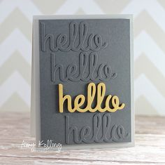 """gray card with """"hello"""" die cuts. the tone on tone die cuts are glue right onto the card face while the kraft one is popped up . luv the graphic look! Cricut Cards, Stampin Up Cards, Whimsy Stamps, Card Making Inspiration, Card Sketches, Copics, Creative Cards, Greeting Cards Handmade, Diy Cards"""