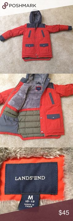 Lands End Squall Parka Great condition except for a few small markings (they may come out in the wash). Very lightly used. Size M 10-12. Features TEMPERATURE RATING: WARMER -5°/25° F  Rugged, waterproof, windproof, 3-ply nylon shell.Toasty 300-weight antistatic & anti-pilling fleece lining in the body & hood.PolarThin™ insulation for warmth without bulk in the sleeves.Waterproof seams are taped and sealed to keep out moisture.Grow-A-Long™ sleeves extend up to 1.5 inches to fit them as they…