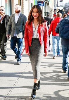 Lady in red: Jamie Chung rocked a red leather motorcycle jacket for a holiday event in Man...