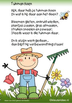 Versje tuinman Koen, thema tuincentrum, kleuteridee , free printable. Picture Comprehension, Learn Dutch, Kids Poems, Spring Theme, School Themes, Spring Blossom, Drawing For Kids, Colouring Pages, School Projects
