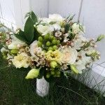 vintage wildflower organic whtie and green calgary wedding flower bridal party bouquet