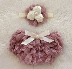 Baby Girl Stuff: Vintage Pink Petti Lace Bloomers and Headband