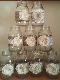 Rustic Wedding Decorations Mason Jars Flowers - These Rustic Mason Jar Ideas Are Great For Barn Yard Wedding. These in Rustic Wedding Decorations Mason Jars Pot Mason Diy, Burlap Mason Jars, Mason Jar Crafts, Pots Mason, Lace Jars, Vintage Mason Jars, Wedding Centerpieces Mason Jars, Rustic Wedding Centerpieces, Bridal Shower Decorations