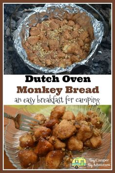 Campfire Monkey Bread Recipe ~ you won't believe you can make this while camping Looking for ideas for easy camping meals for breakfast? This campfire monkey bread recipe is made in a dutch oven. Sweet and sticky, this camping monkey bread recipe is sure Dutch Oven Breakfast, Campfire Breakfast, Easy Camping Breakfast, Camping Coffee, Campfire Monkey Bread, Campfire Food, Easy Campfire Meals, Camping Desserts, Camping Recipes
