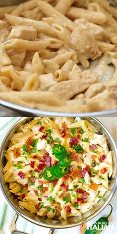 One-Pot Jalapeño Popper Chicken Pasta cooks in one pot to make clean up easy! The meal is packed with flavor and is perfect for the entire family. videos yummy meals families One-Pot Jalapeno Popper Chicken Pasta New Recipes For Dinner, Pasta Dinner Recipes, Instant Pot Dinner Recipes, Easy Pasta Recipes, Cooking Recipes, Easy Pasta Meals, Best Food Recipes, Salad Recipes, Healthy Pasta Dishes