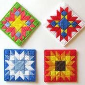 Free Plastic Canvas 4 Seasons Coasters - via @Craftsy