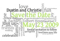Word Cloud Save the Date Postcards I'm so doing this!!!