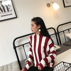Buy CosmoCorner Striped Mock-Neck Sweater at YesStyle.com! Quality products at remarkable prices. FREE Worldwide Shipping available!