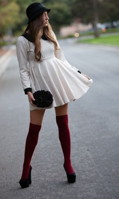 over the knee socks/tights.