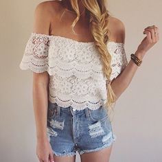 New Fashion Women's Sexy Lace Crochet Tops Off-Shoulder Tee Shirt Casual Blouse on Luulla