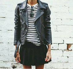Classic stripes & classic leather jacket