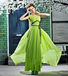 Green Spaghetti Strap Ribbon A-line V-neck Prom Quinceanera Dress Chiffon Evening Dresses, A Line Prom Dresses, Quinceanera Dresses, Formal Dresses, Wedding Dresses, Halter Dresses, Cheap Fashion, Special Occasion Dresses, Ball Gowns