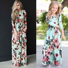 Mother and daughter matching summer clothes – Fabulous Bargains Galore Sundress Outfit, Kids Long Dress, Dress Long, Long Floral Maxi Dress, Mommy And Me Outfits, Boy Outfits, Matching Family Outfits, Matching Clothes, Little Doll