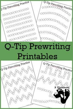 Preschool homeschooling- free q tip painting printables- helps learn to write