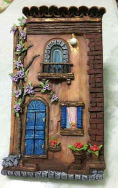 Discover recipes, home ideas, style inspiration and other ideas to try. Clay Wall Art, 3d Wall Art, Mural Art, Art 3d, Clay Houses, Ceramic Houses, Clay Fairy House, Fairy Houses, Miniature Crafts
