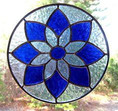Stained Glass Blue Star Mandala Suncatcher by ShiningStarGlass, $34.00