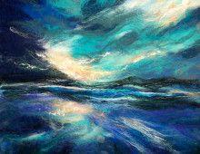 MMC-atlantic-sunset by Moy Mackay Wet Felting Projects, Watercolor Quilt, Felt Wall Hanging, Beach Quilt, Fuzzy Felt, Felt Pictures, Wool Art, Art For Art Sake, Textile Artists