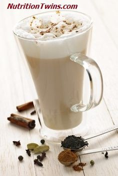 Tired of the same old cup of Joe each morning? Check out this delish Chai Tea Latte recipe! | For MORE RECIPES please SIGN UP for our FREE NEWSLETTER www.NutritionTwins.com