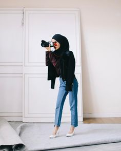 Street Hijab Fashion, Muslim Fashion, Modest Fashion, Fashion Outfits, Hijab Casual, Hijab Chic, Hijab Outfit, Ootd Hijab, Muslim Girls