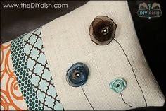 """DIY """"chic"""" pillows - I really like the flowers and burlap on this one"""