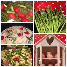Omelette with asparagus, fresh tomatoes & parma ham! Parma Ham, Greek Dishes, Little Kitchen, Omelette, Asparagus, Green Beans, Tomatoes, Vegetarian, Fresh