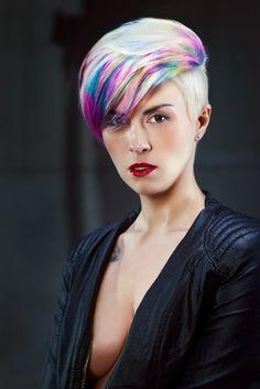Rainbow hair ♥ may be my next fall style!